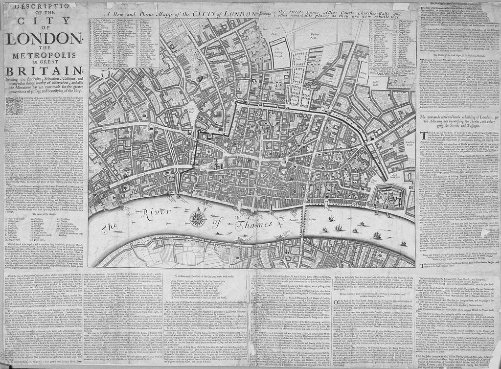 Detail of Map of the City of London surrounded by descriptive text by Anonymous