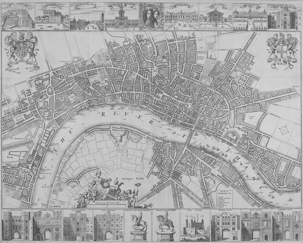 Detail of Map of the Cities of London and Westminster and Southwark by