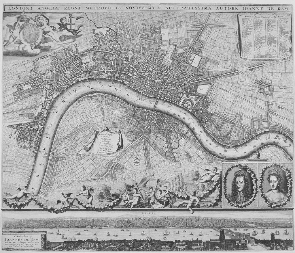 Detail of Map of London by Johannes de Ram