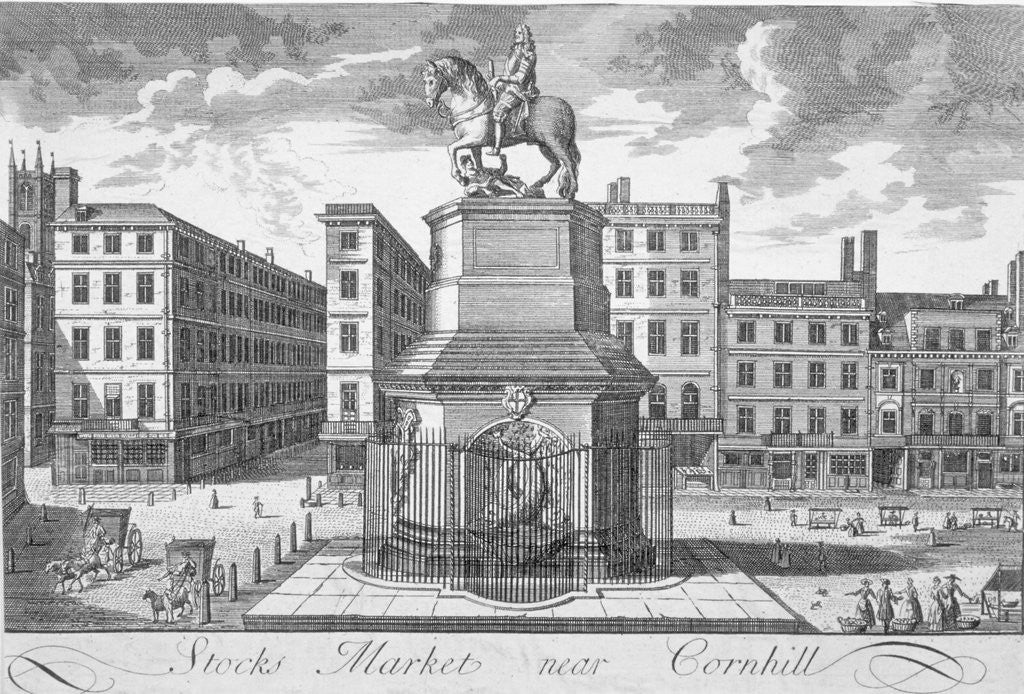 Detail of View of the Stocks Market, Poultry, looking from the west, City of London by Anonymous