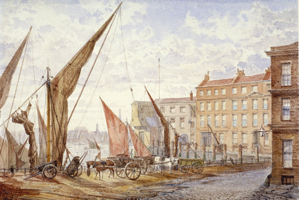 Detail of View of Maidstone Wharf, Queenhithe, City of London by Alfred Slocombe