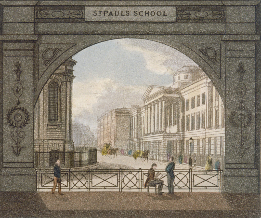Detail of View of St Paul's School, City of London by Anonymous