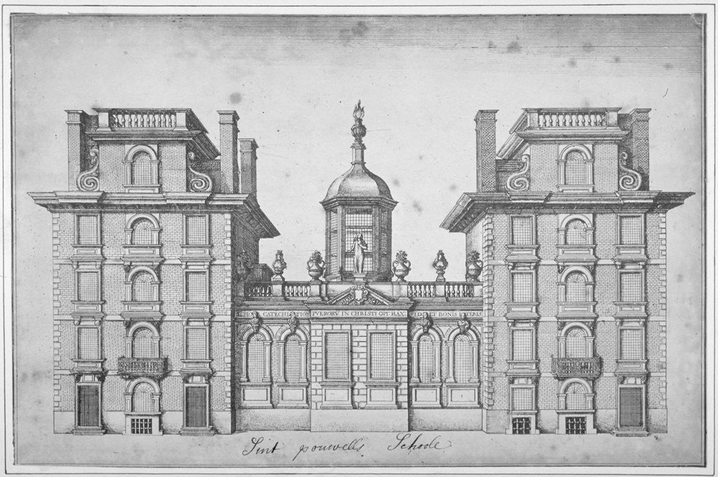Detail of Elevation of St Paul's School, City of London by