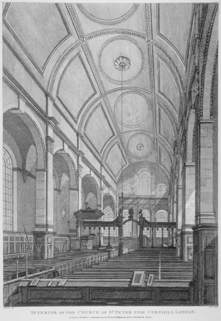 Detail of Interior of the Church of St Peter upon Cornhill looking east, City of London by Thomas Dale