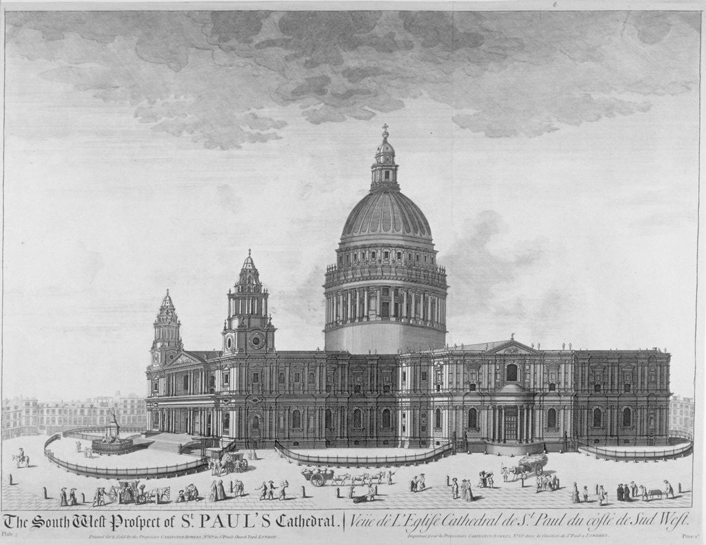 Detail of South-west view of St Paul's Cathedral, City of London by Anonymous