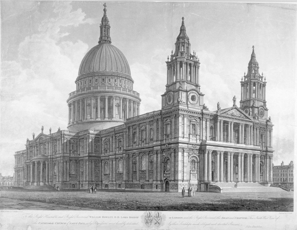 Detail of North-west view of St Paul's Cathedral, City of London by John Buckler