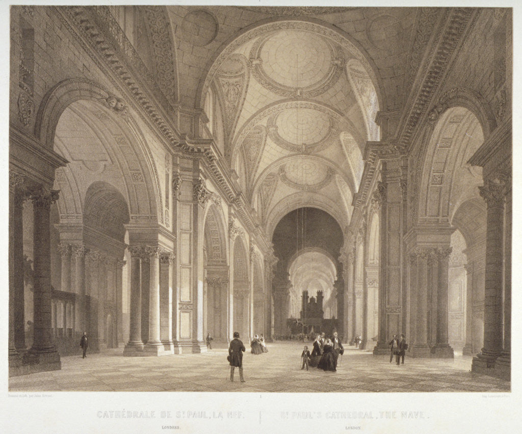 Detail of Nave of St Paul's Cathedral, looking east towards the choir, City of London by Jules Louis Arnout