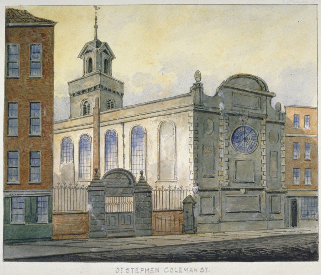 Detail of South-east view of the Church of St Stephen, Coleman Street, City of London by William Pearson