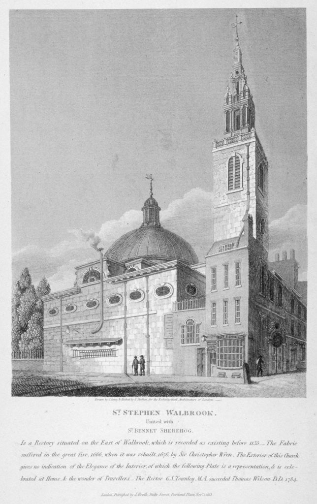 Detail of North-west view of the Church of St Stephen Walbrook, City of London by