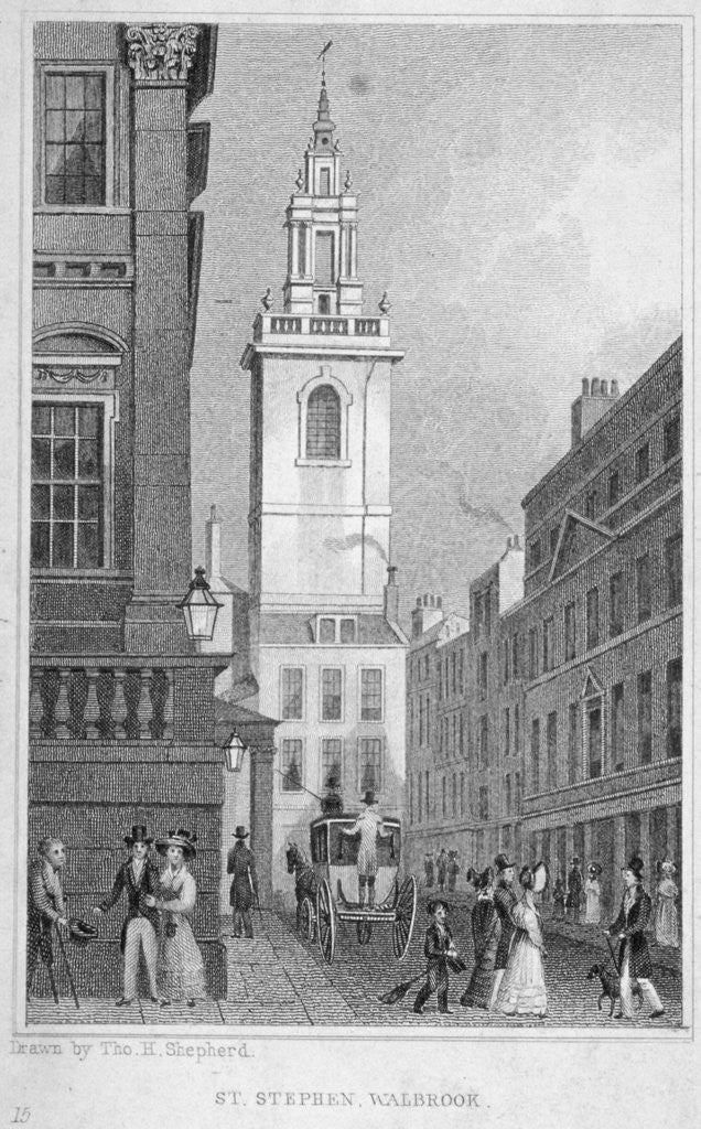 Detail of Church of St Stephen Walbrook from the corner of Mansion House, City of London by R Acon