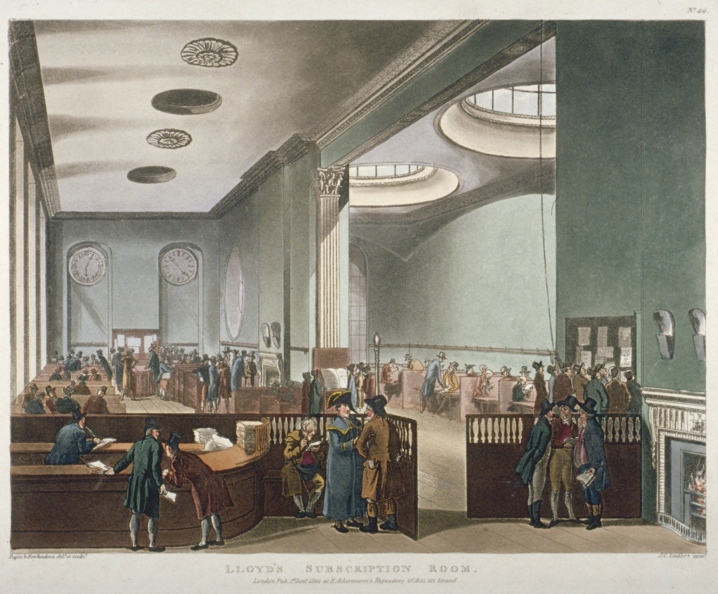 Detail of Interior view of Lloyds Subscription Room in the Royal Exchange, City of London by