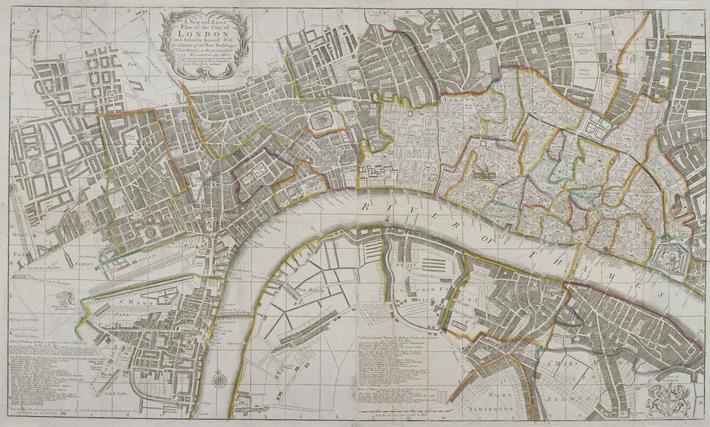 Detail of Map of Westminster, the City of London, Southwark and surrounding areas by