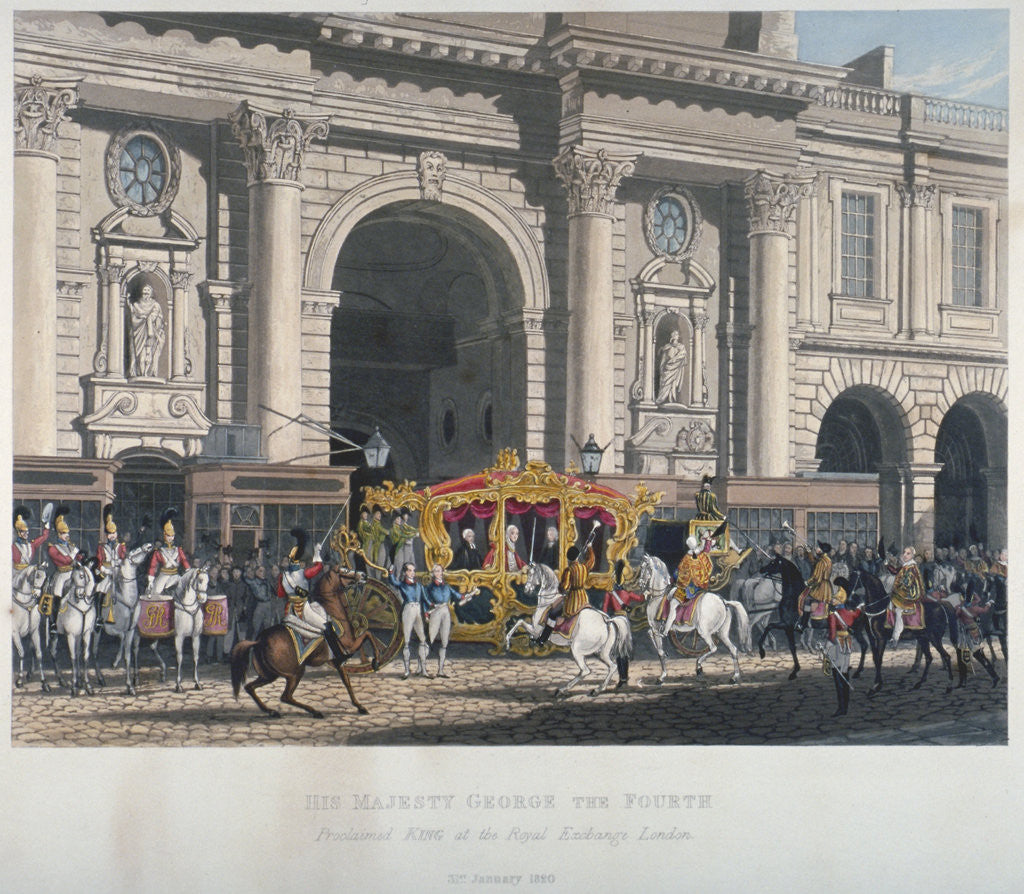 Detail of Proclaimation of George IV's accession to the throne at the Royal Exchange, London, 1820 (1827) by Anonymous