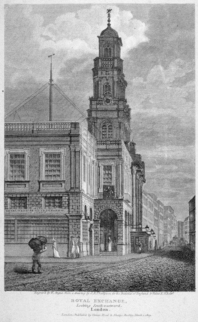 Detail of View of the Royal Exchange, looking south-west, City of London by
