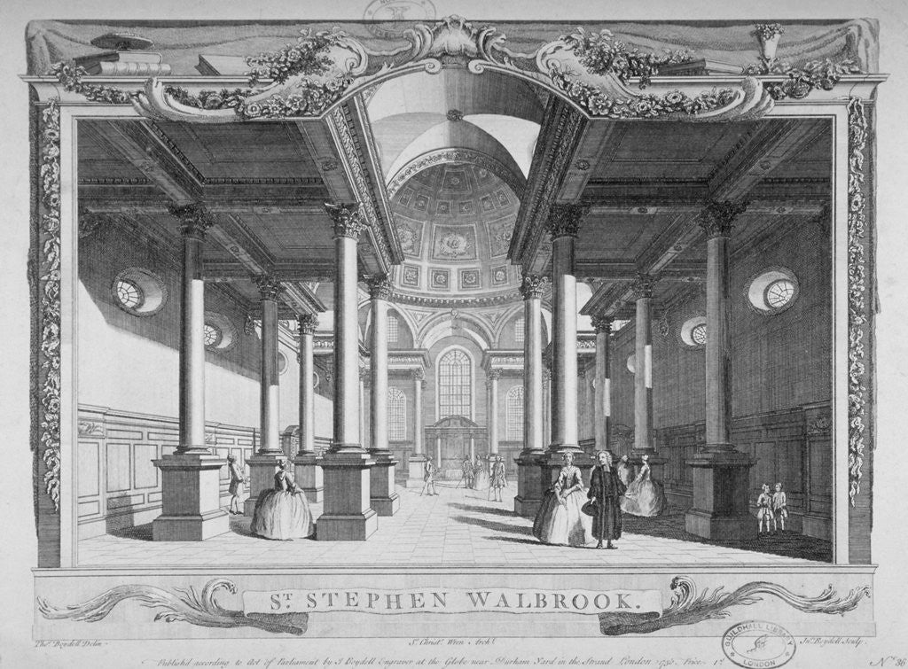 Detail of Interior view looking east, Church of St Stephen Walbrook, City of London by John Boydell