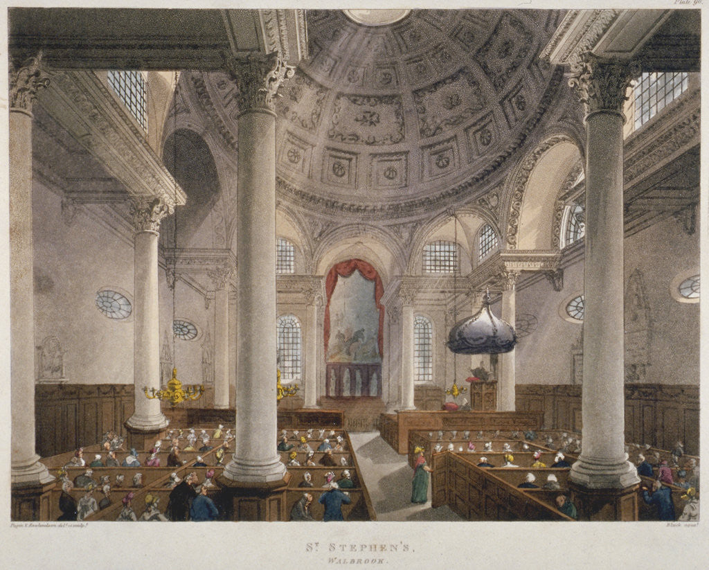 Detail of Interior of the Church of St Stephen Walbrook during a service, City of London by Augustus Charles Pugin