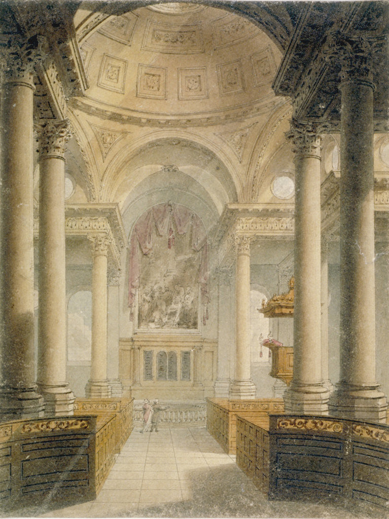 Detail of Interior of the Church of St Stephen Walbrook, City of London by Frederick Mackenzie
