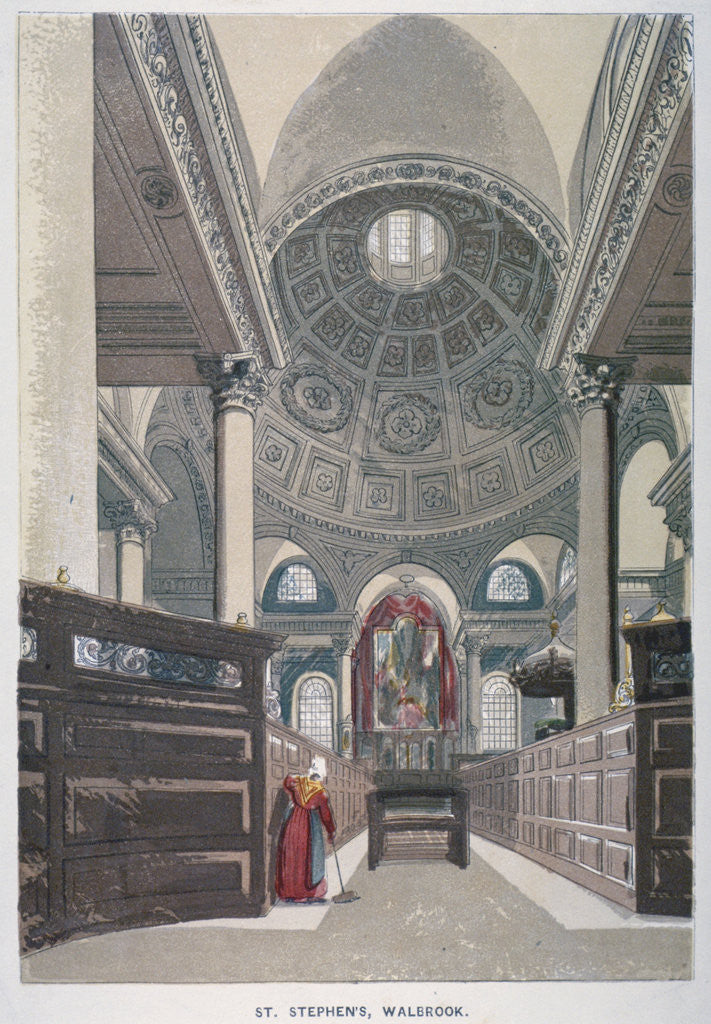 Detail of Interior looking east, Church of St Stephen Walbrook, City of London by Anonymous