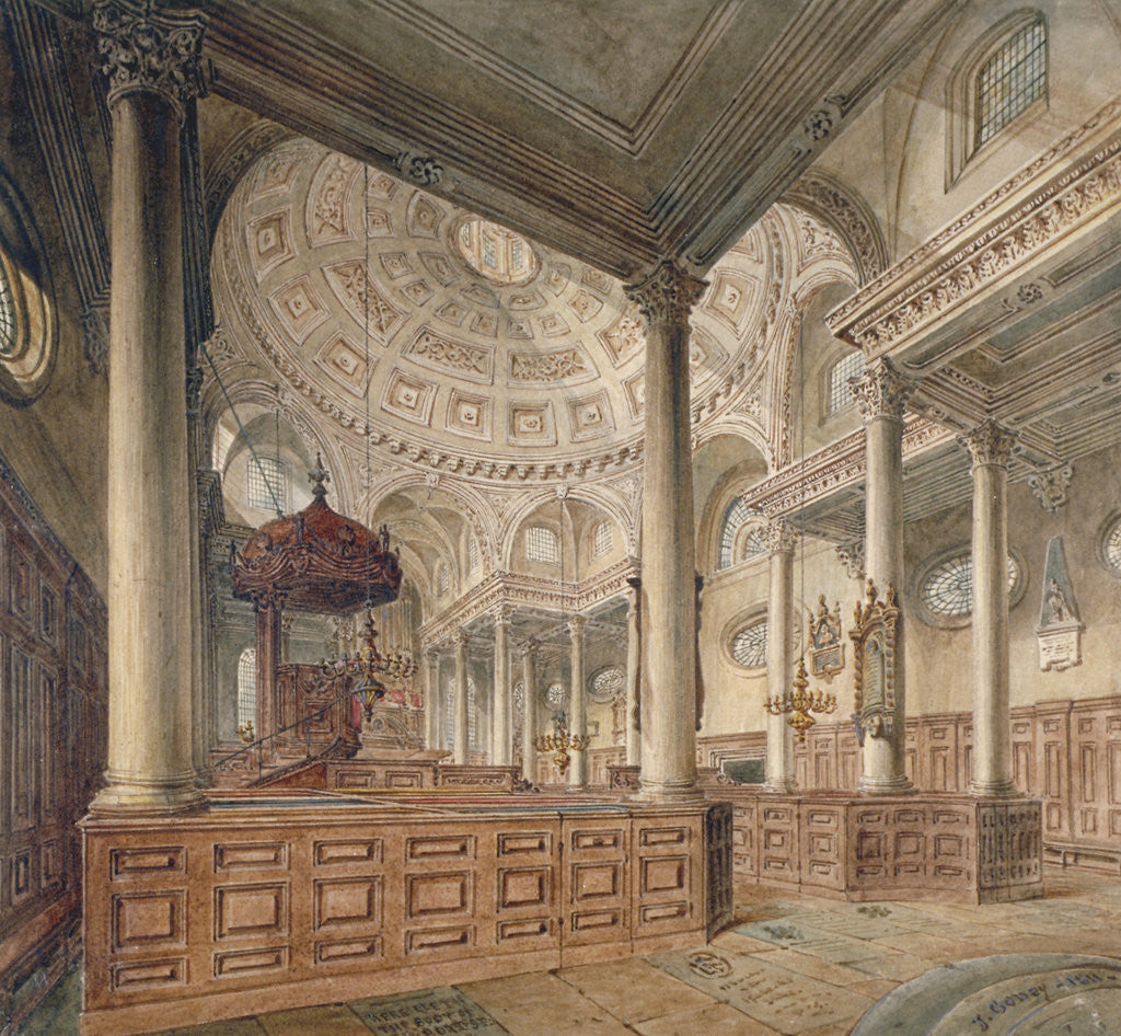 Detail of Interior view of the Church of St Stephen Walbrook, City of London by John Coney