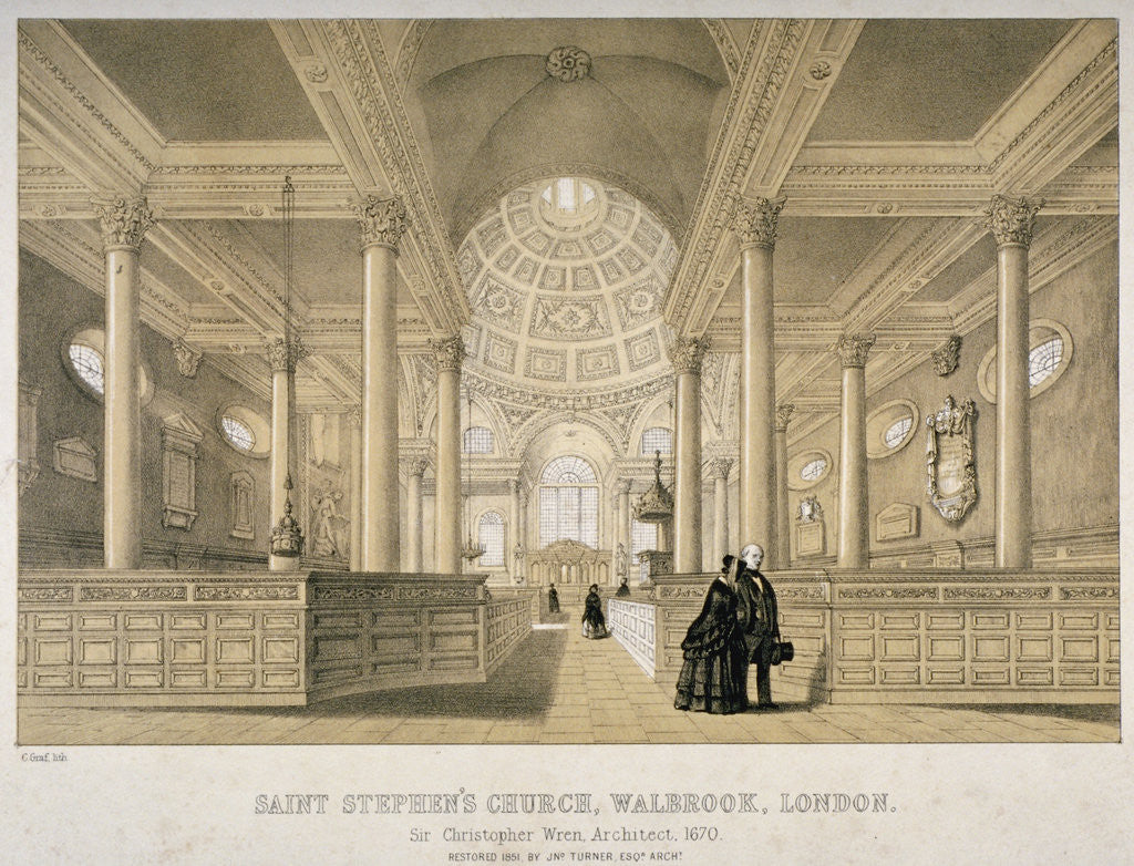 Detail of Interior view looking east, Church of St Stephen Walbrook, City of London by