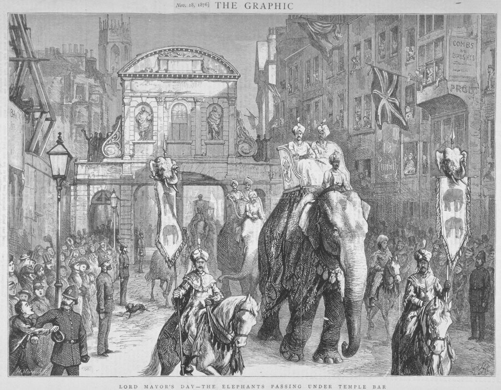 Detail of View of Temple Bar during the Lord Mayor's Day, City of London by Anonymous