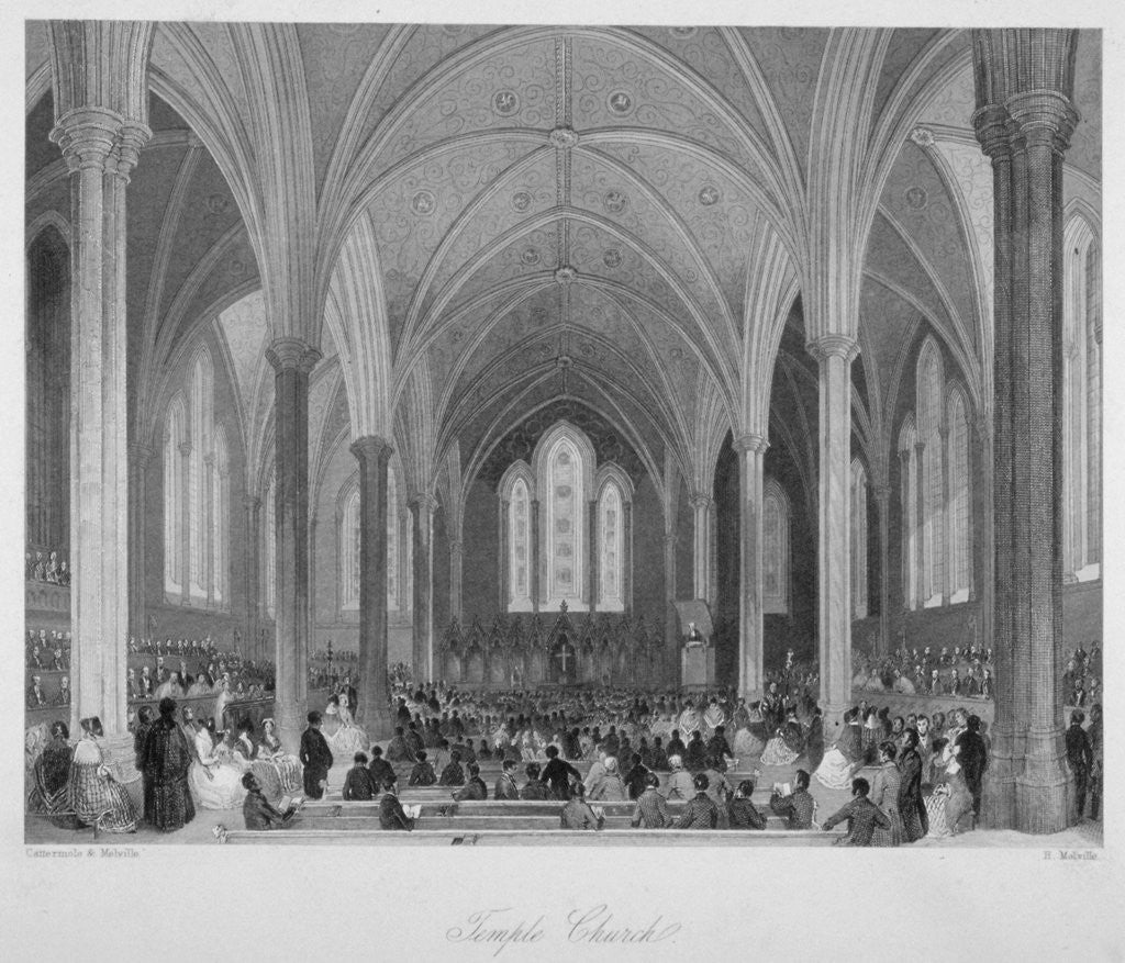 Detail of Interior of Temple Church during a service, City of London by