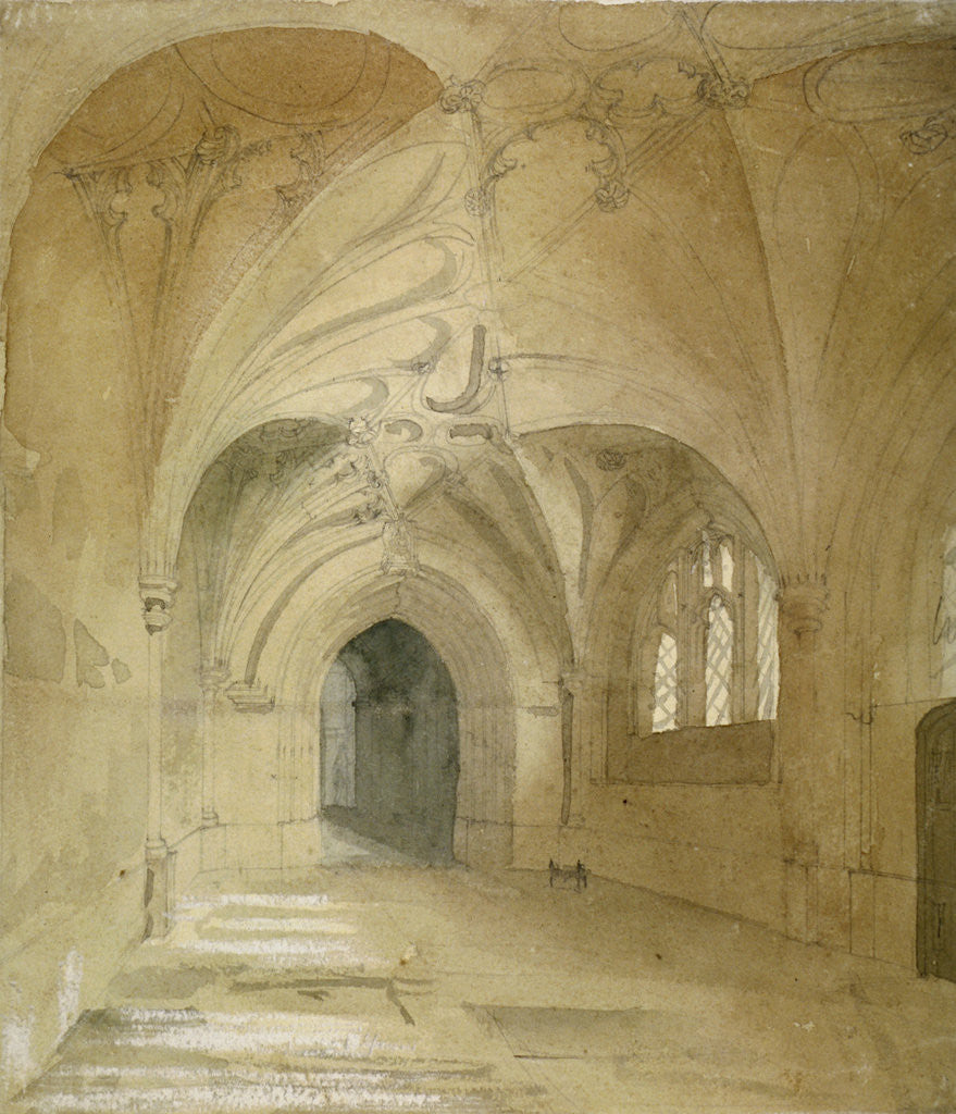 Detail of Interior view of the porch of St Sepulchre Church, City of London by Anonymous