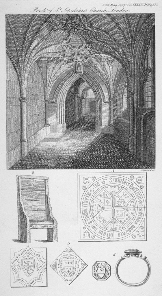Detail of Interior view of the porch of St Sepulchre Church, City of London by J Swaine