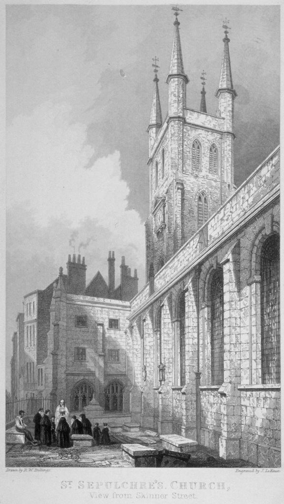 Detail of View of St Sepulchre Church from Skinner Street, City of London by John Le Keux