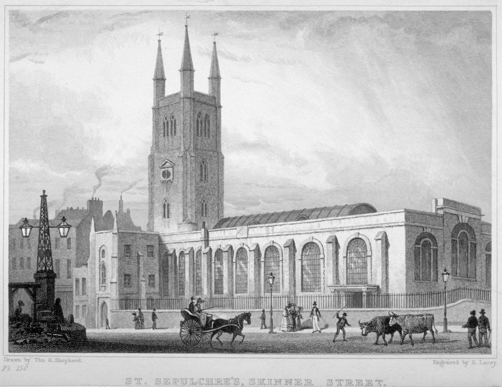 Detail of View of St Sepulchre Church, Skinner Street, City of London by S Lacey