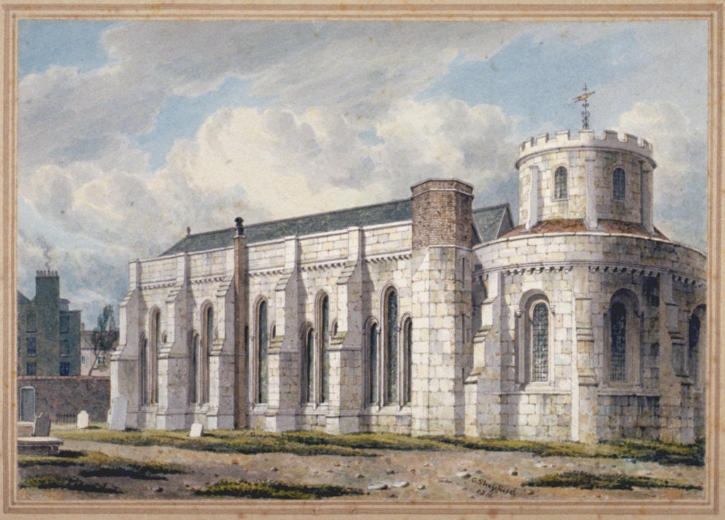 Detail of View of Temple Church from across the graveyard, City of London by George Shepherd