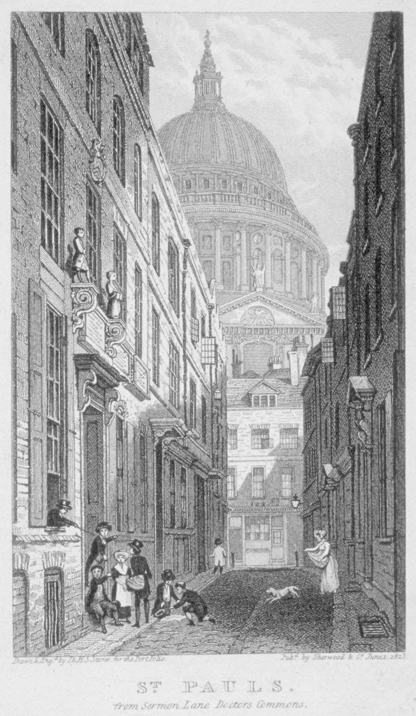 Detail of View of St Paul's Cathedral from Sermon Lane, City of London by James Sargant Storer