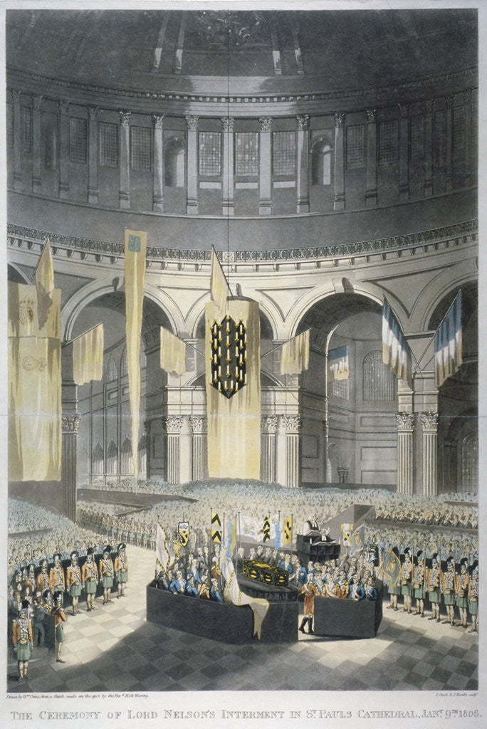 Detail of The ceremony of Lord Nelson's burial at St Paul's Cathedral, City of London by JR Hamble
