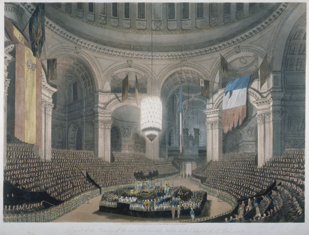 Detail of The ceremony of Lord Nelson's burial at St Paul's Cathedral, City of London by FC Lewis