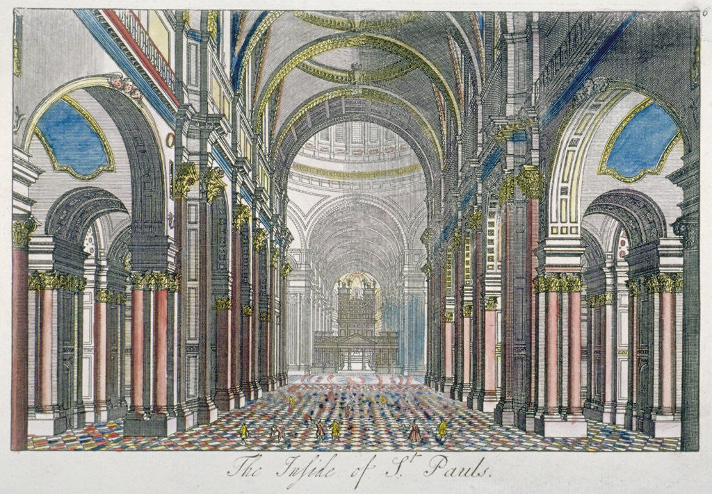 Detail of Interior of St Paul's Cathedral, looking east from the nave towards the choir, City of London by