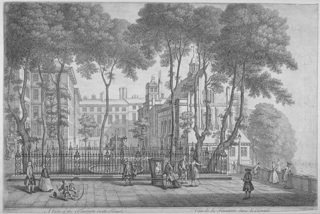 Detail of View of Fountain Court, Middle Temple, City of London by Henry Fletcher