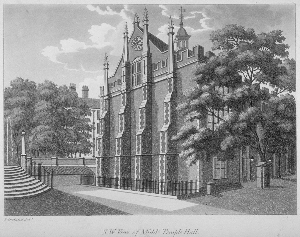 Detail of South-west view of Middle Temple Hall, Middle Temple, City of London by Anonymous