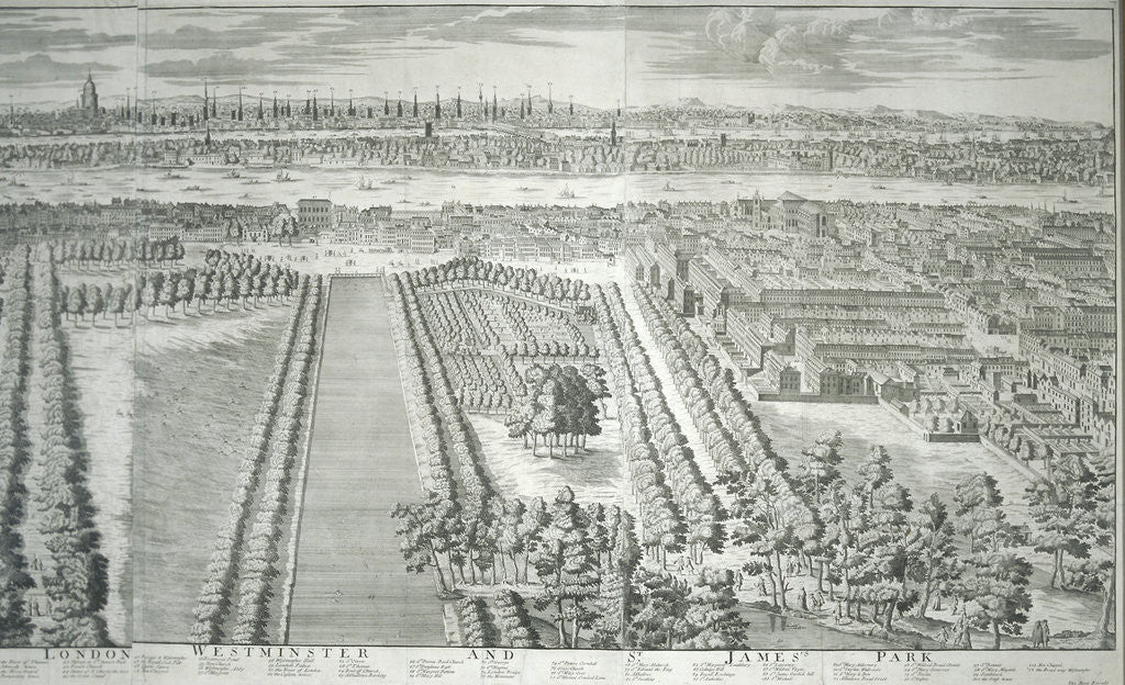 Detail of Panoramic view of the City of London and Westminster showing St James's Park by