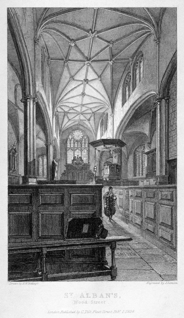 Detail of Interior view of the Church of St Alban, Wood Street, City of London by J Lemon