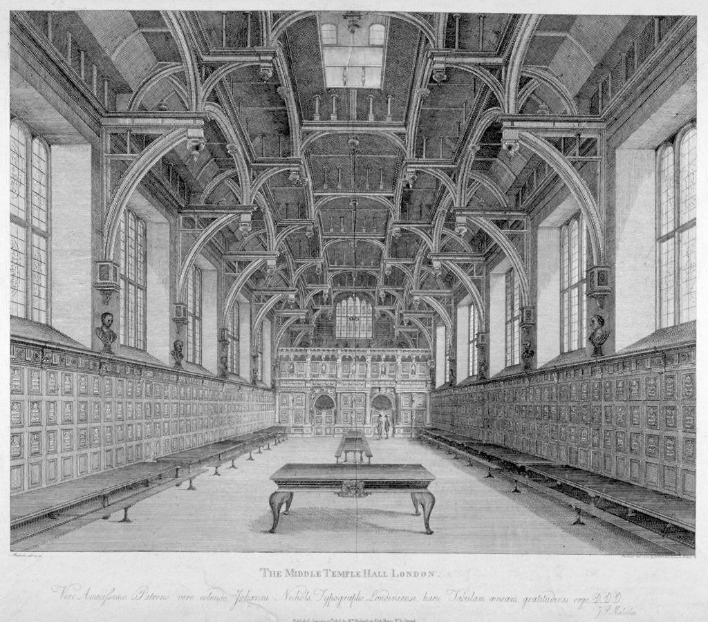 Detail of Interior view of Middle Temple Hall, City of London by James Peller Malcolm
