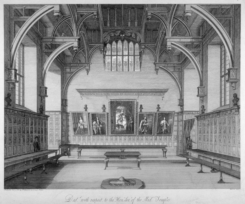 Detail of Interior of Middle Temple Hall, City of London by James Peller Malcolm