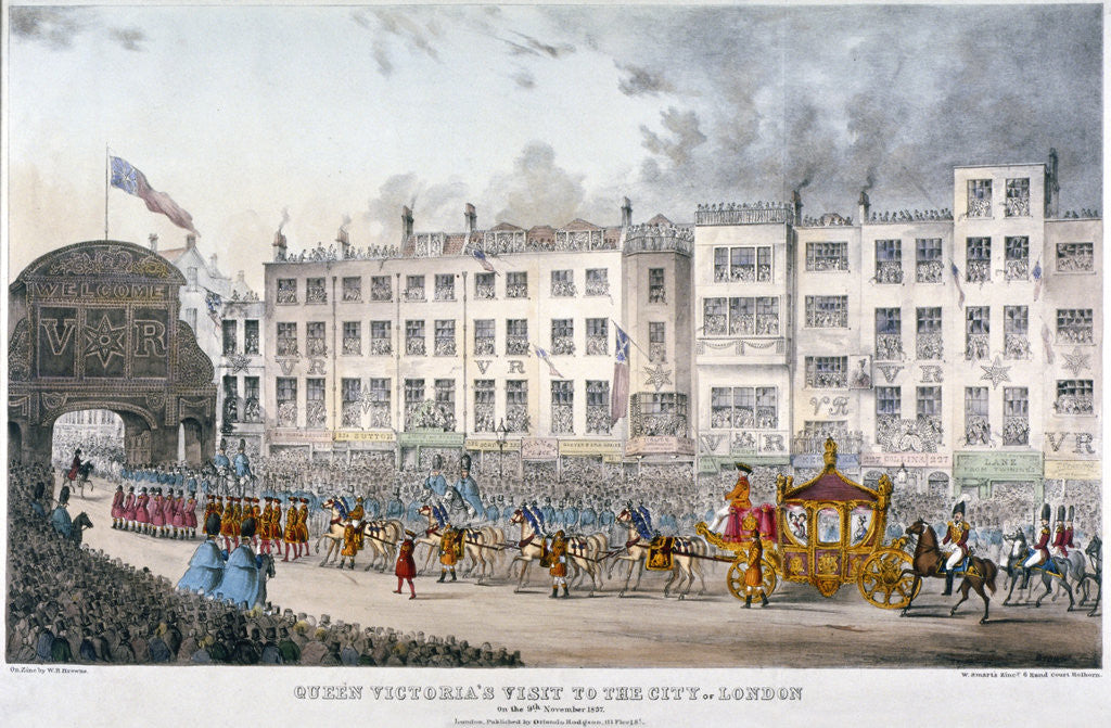 Detail of View of Temple Bar during Queen Victoria's visit to the City of London in 1837 by W Smart