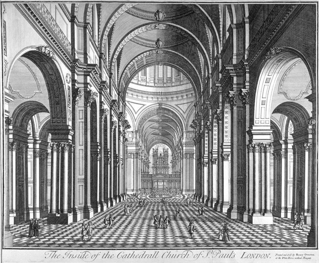 Detail of Interior view of St Paul's Cathedral, looking east along the nave, City of London by Anonymous
