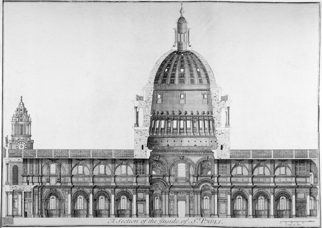 Detail of Longitudinal section of St Paul's Cathedral, City of London by Anonymous