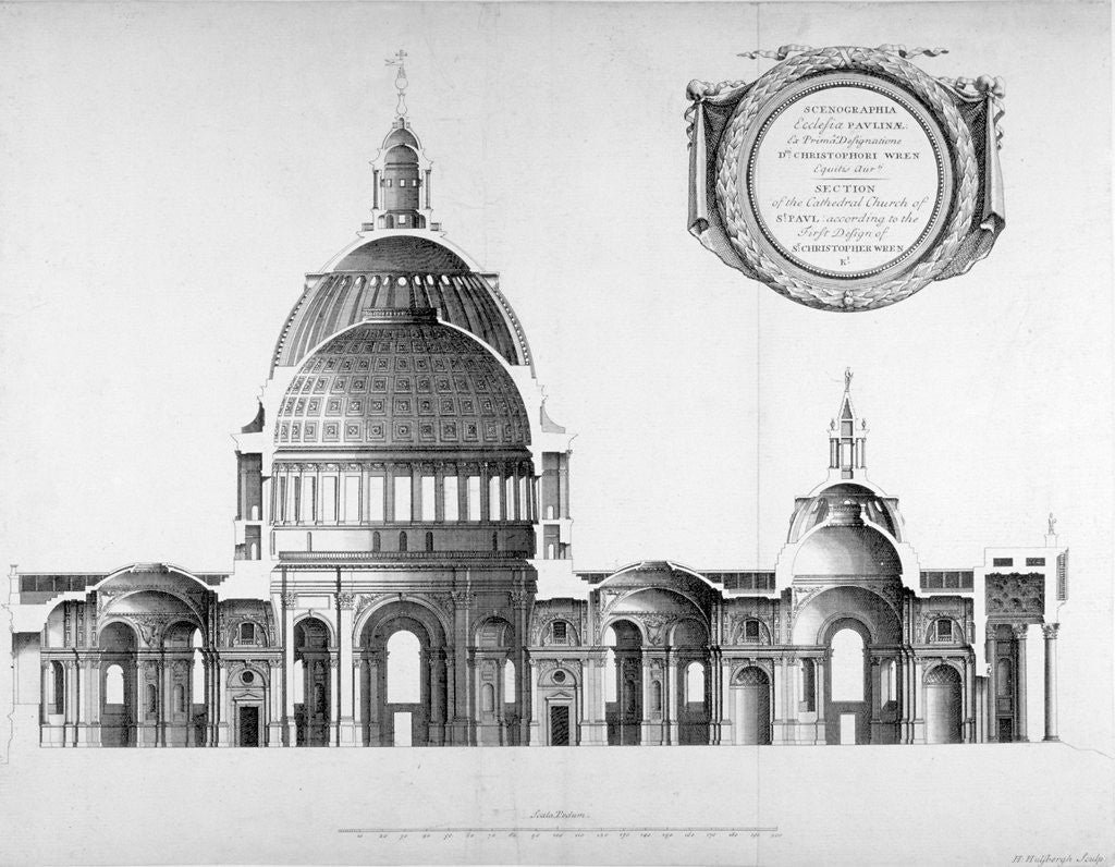 Detail of Longtitudinal section through St Paul's Cathedral, City of London by Anonymous