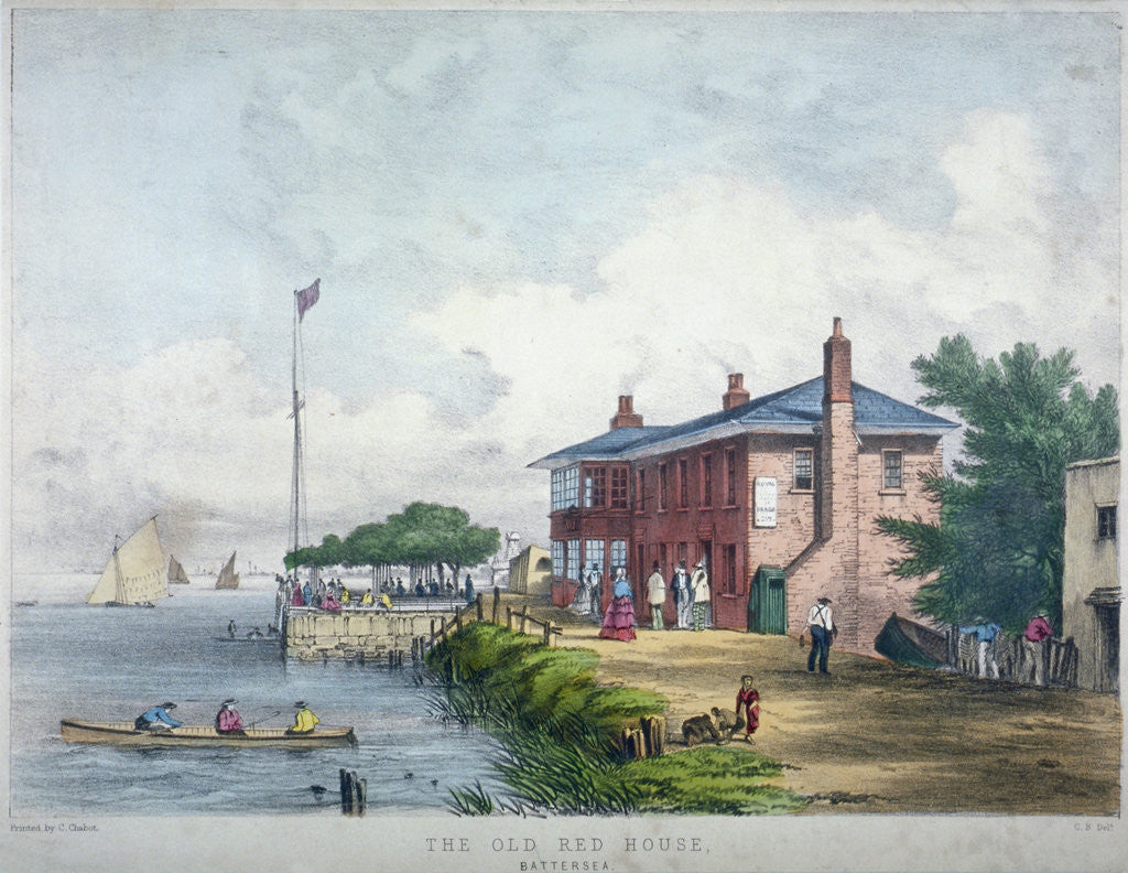 Detail of View of the Red House Inn on the banks of the River Thames, Battersea, London by Anonymous