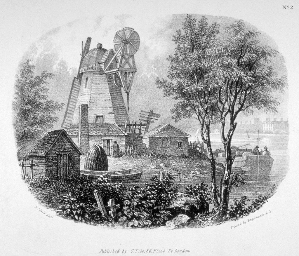 Detail of View of a windmill and the River Thames, Battersea, London by Anonymous