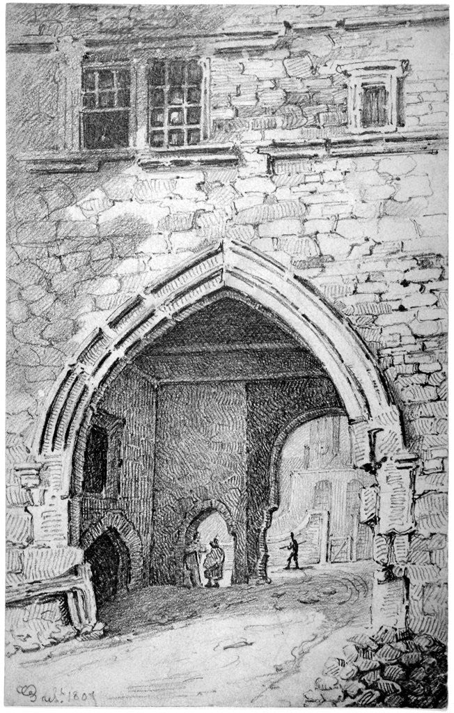 Detail of View of King John's Gate in the Abbey of St Saviour, Bermondsey, London by