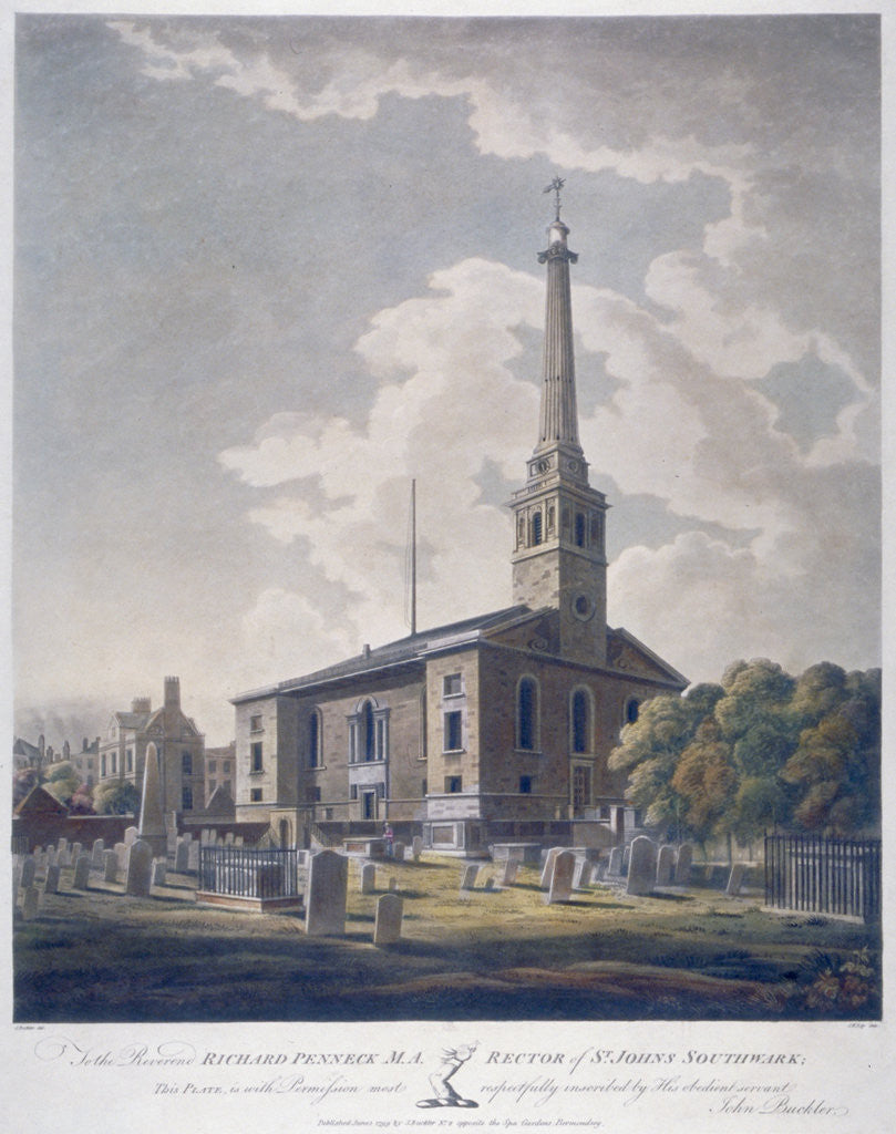 Detail of View of the Church of St John Horsleydown, Bermondsey, London by John William Edy