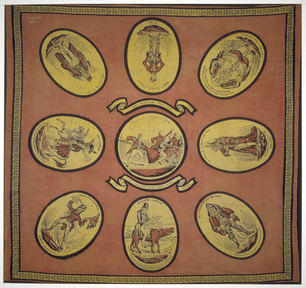 Detail of Handkerchief commemorating several events in the mayoralty of Alderman Sir John Key by Anonymous
